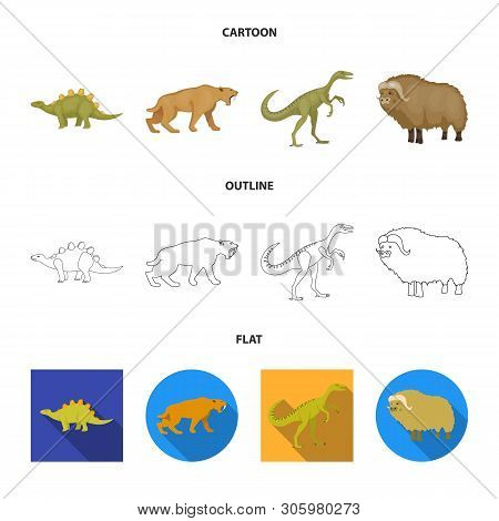 Isolated Object Of Animal And Character Icon. Collection Of Animal And Ancient  Vector Icon For Stoc