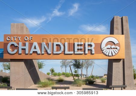 Chandler,AZ/USA -6.6.19: The City of Chandler, Arizona, is a suburb of Phoenix, bordered by Mesa & Tempe with a recorded population of 236,123.