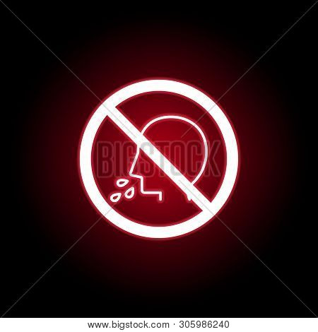 Forbidden  Spit Icon In Red Neon Style. Can Be Used For Web, Logo, Mobile App, Ui, Ux