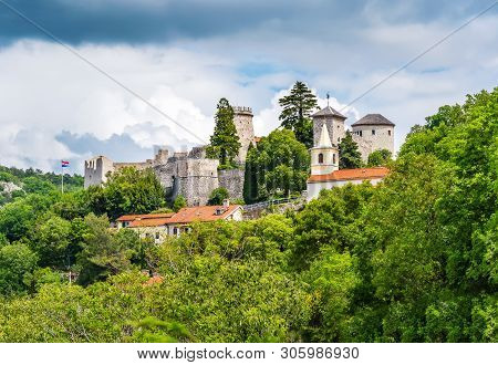 Rijeka, Croatia: Trsat Castle Sourrounded By Green Trees. Historic Castle And Fortress With Oval Tow