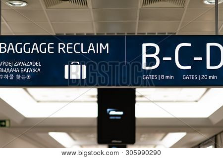 Baggage Reclaim Information Board Inside Prague International Airport - April 2019