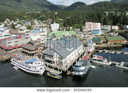 Ketchikan, Alaska September 15: Downtown Waterfront on September 15, 2009 in Ketchikan Alaska
