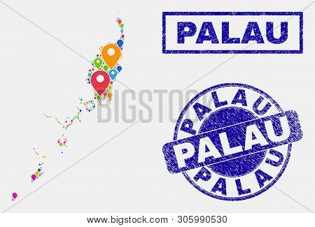 Vector colorful mosaic Palau map and grunge stamp seals. Abstract Palau map is composed from randomized colorful geo symbols. Stamp seals are blue, with rectangle and round shapes. poster
