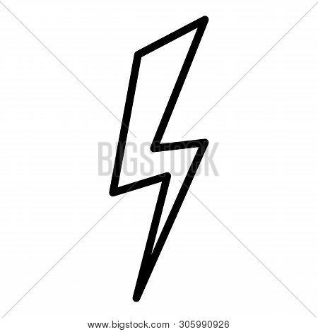 Plain Lightning Icon. Outline Plain Lightning Vector Icon For Web Design Isolated On White Backgroun