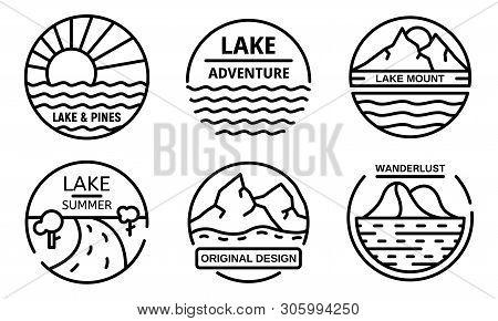 Lake Logo Set. Outline Set Of Lake Vector Logo For Web Design Isolated On White Background
