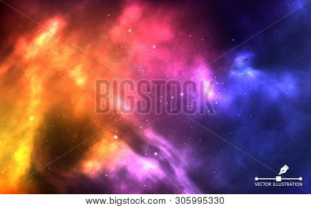 Space Background. Realistic Color Cosmos With Nebula And Bright Stars. Colorful Galaxy And Stardust.