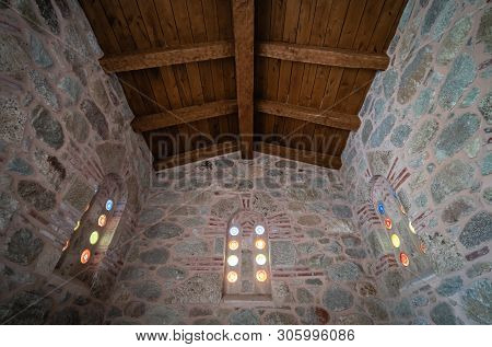 Small Stained Glass Round Windows Inside The Holy Monastery Of Great Meteoron In Meteora, Greece