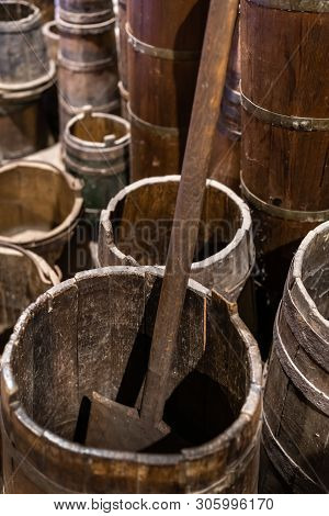 Old Wooden Kitchen Utensils In The Old Kitchen Of The Monastery Of Grand Meteoron, Northern Greece