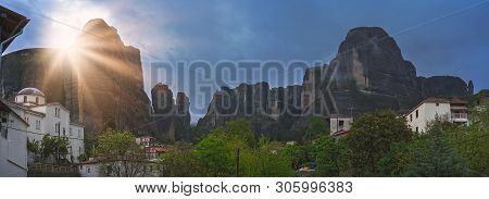 Panoramic View Of The Impressive Rock Formations And Landscape As Seen In The Small Kastraki Settlem