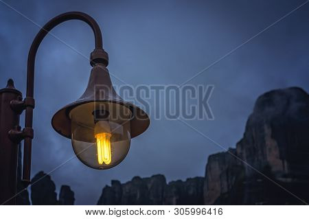Street Lamp Lit At Night In The Small Kastraki Settlement In Meteora At Dusk, Trikala Region, Greece