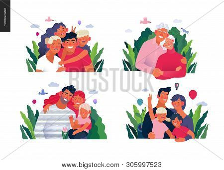 Medical Insurance Template -happy Family - Modern Flat Vector Concept Digital Illustrations Of Famil