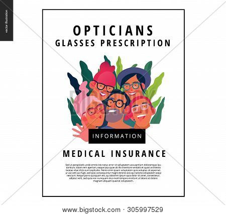 Medical Insurance Template - Opticians Shop Advertising Poster Panel - Modern Flat Vector Concept Di