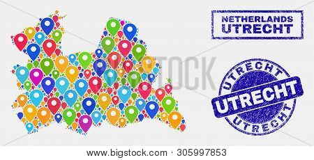 Vector Colorful Mosaic Utrecht Province Map And Grunge Stamp Seals. Abstract Utrecht Province Map Is