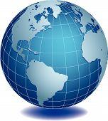 Vector illustration of world globe on white background poster