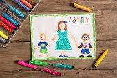 Children's drawing of family single mom and two sons. Incomplete family concept. poster