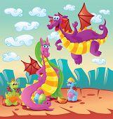 dragon family scene, vector illustration and character design poster