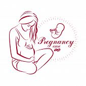 Elegant pregnant woman body silhouette drawing. Vector illustration of mother-to-be fondles her belly. Prenatal center and motherhood preparing clinic promotion flyer poster