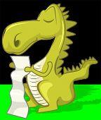 Illustration of fantasy of a dinosaur in black background poster