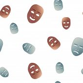 Seamless pattern theatrical mask with crying and happy emotion. Vector illustration. Bronze and silver masks with gradient isolated on white background. poster