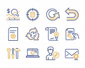 Recycle, Calculator target and Reject certificate icons simple set. Check investment, Undo and Seo laptop signs. Reload, File settings and Repair document symbols. Line recycle icon. Colorful set poster