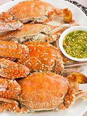Steamed Blue swimming crab with chili spicy sauce poster