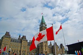 Ottawa, Canada - July 1, 2009: National Flags Fly On Canada Day In Parliament Hill, Ottawa, Ontario,