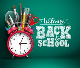 Back To School Vector Banner With Alarm Clock. School Supplies, Other Elements And Red Alarm Clock I