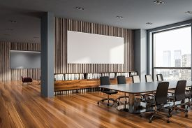 Gray And Wooden Conference Room, Poster And Lounge