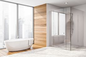 Corner Of Bathroom With Tub And Shower
