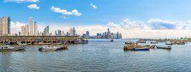 Panama City,panama - March 28,2019 - Panoramic View At The Fishing Port In Panama City. Panama City