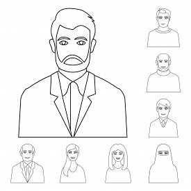 Isolated Object Of Character  And Avatar Icon. Set Of Character  And Person Stock Vector Illustratio