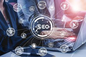 Seo - Search Engine Optimization For Online Marketing Concept. Modern Graphic Interface Showing Symb