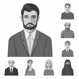 Isolated Object Of Face And Person Logo. Collection Of Face And Portrait Vector Icon For Stock.