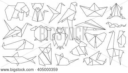 Origami Line Animals. Paper Geometric Graphic Logo And Icon Bird, Fox, Crane, Mouse, Shark And Eleph