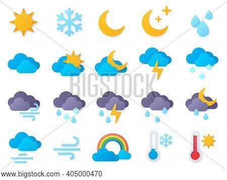 Paper Cut Weather Icons. Symbols Of Rain, Rainbow, Sun, Hot And Cold Temperature, Winter Snow And Cl