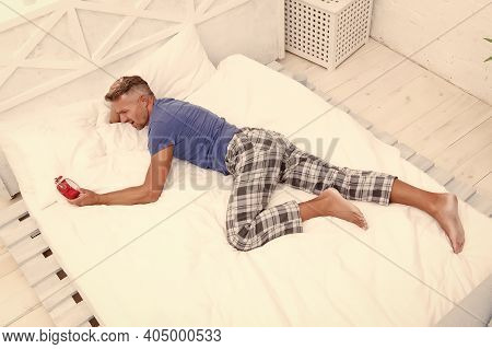 Sleep Disorders. Good And Healthy Sleep. Handsome Man In Bed. Depression Upon Waking Up Described By