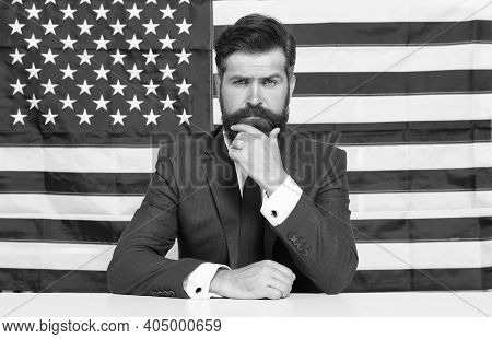National Holidays. Celebration Of Victory. Bearded Hipster Man Being Patriotic For Usa. Proud Of Mot