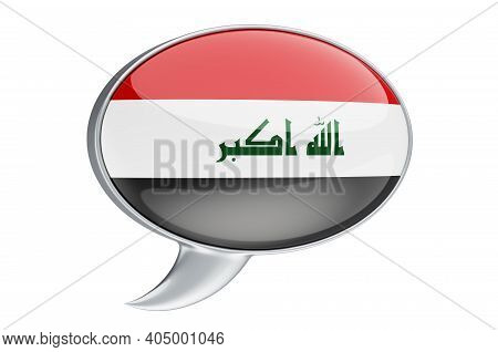 Speech Balloon With Iraqi Flag, 3d Rendering Isolated On White Background