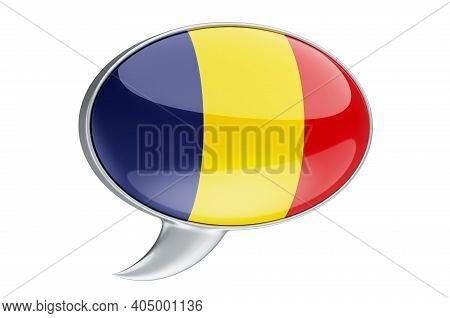 Speech Balloon With Romanian Flag, 3d Rendering Isolated On White Background