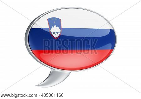 Speech Balloon With Slovenian Flag, 3d Rendering Isolated On White Background