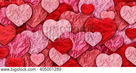 Valentines Abstract Background And Valentine Holiday With Pink Heart Designs Made Of Cut Paper As A
