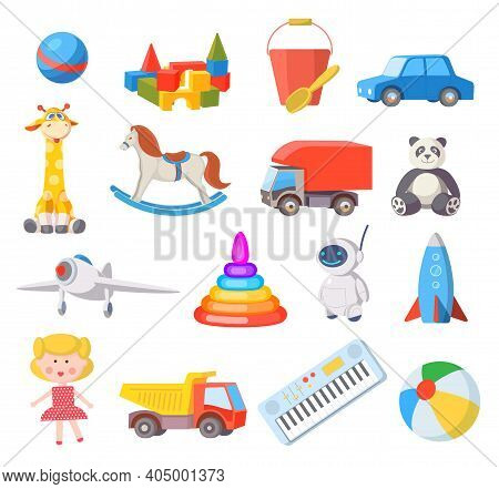 Baby Toys. Cartoon Kids Toy For Boys And Girls Ball, Car, Doll, Robot, Rocket And Airplane. Fun Chil