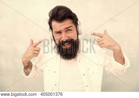 Active Noise Cancellation Technology. Hipster Listen Music Stereo Headphones. Modern Wireless Headph