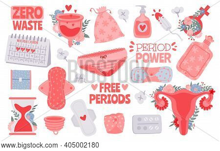 Menstruation Hygiene. Female Period Products - Tampon, Pads, Menstrual Cup. Zero Waste For Woman Cri