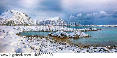 Spectacular Snowy Winter Scene Of  Valberg Village With Snowy  Mountain Peaks On Lofoten Islands.  L