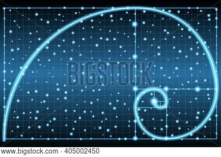 Glowing Fibonacci Spiral Or Golden Ratio Symbol On Dark Background