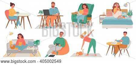 People At Homes. Men And Women Relax, Work, Do Exercise And Hobby In Room Interiors. Quarantine Char