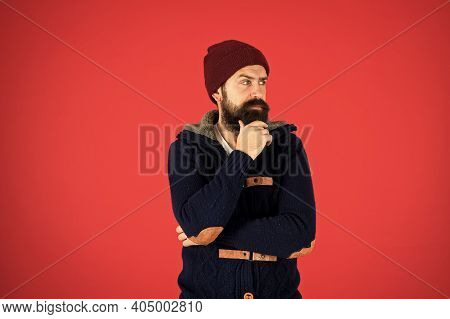 Fashion Menswear Shop. Masculine Clothes Concept. Think And Decide. Winter Menswear. Man Bearded War