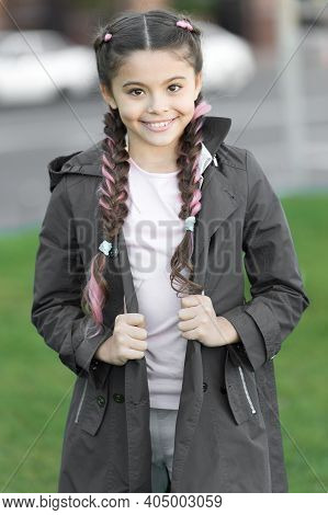 Girl With Braided Hair Style With Pink Kanekalon. Add Bright Detail. Little Girl With Cute Braids We