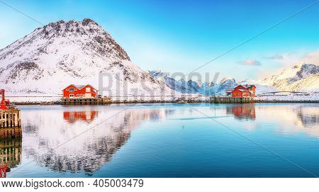 Captivating Morning View Of Small Fishing Village Ramberg At Sunrise. Travel Destination On Lofotens